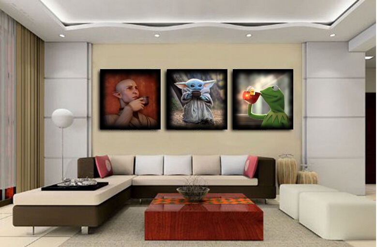 Cool living area - Solas from Dragon Age, Baby Yoda and Kermit drinking tea
