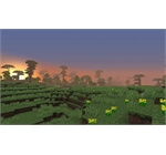 Minecraft 2 - Sunset across a minecraft landscape