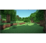 Minecraft - Daytime minecraft landscape with trees and grass